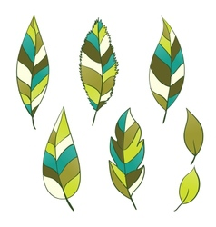 Set of hand-drawn leaves vector image