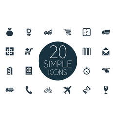 Set of simple carting icons vector
