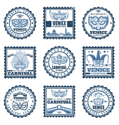 Vintage traditional venice carnival stamps set vector