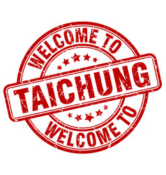 Welcome to taichung red round vintage stamp vector