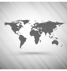 world map on gray background grunge texture vector image