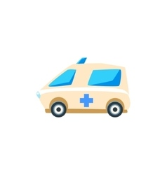 White ambulance toy cute car icon vector