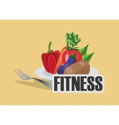 Healthy food icons fitness image vector