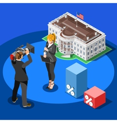 Election news infographic white house isometric vector