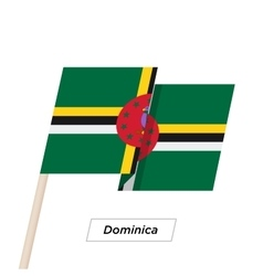 Dominica ribbon waving flag isolated on white vector
