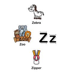 Alphabet letter z zebra zoo zipper vector