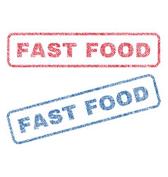 Fast food textile stamps vector