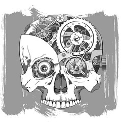 Clockwork skull vector