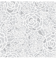 Gentle silver grey lace roses seamless vector