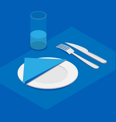 3d isometric table appointments in blue color vector
