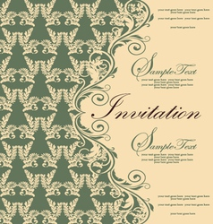 Damask green invitation card vector