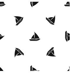 Sailing yacht pattern seamless black vector