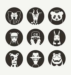 Set of stylized animal avatar for social network vector