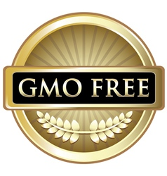 Gmo free gold label vector