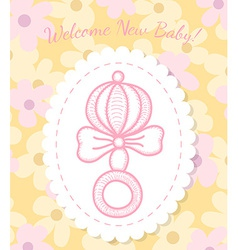 Welcome baby card with rattle vector