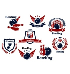 Bowling sports emblems and symbols vector image