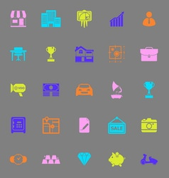 Asset and property color icons on gray background vector