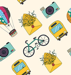 Hand drawn travel seamless pattern vector