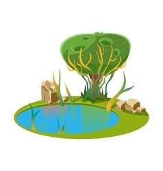 Island with a lake and tree vector