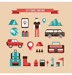 Tourism travel camping and hiking set of flat vector