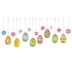 Hanging colorful easter eggs vector