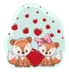 Two foxes with heart vector