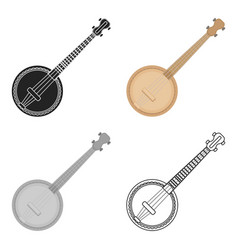 banjo icon in cartoon style isolated on white vector image