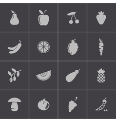 black fruits and vegetables icons set vector image vector image