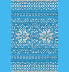 Blue jacquard fairisle seamless knitting pattern vector