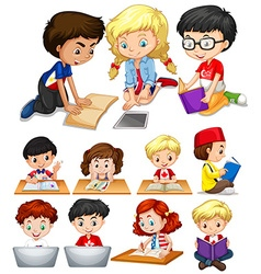 Boys and girls reading and studying vector image vector image