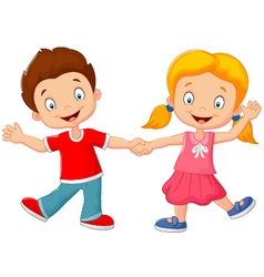 Cartoon little kids holding hand vector