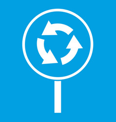 Circular motion road sign icon white vector