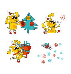 Cool yellow dog mascot vector