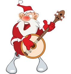 Cute Santa Claus and Banjo vector image vector image