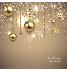 Elegant christmas background with golden baubles vector image vector image