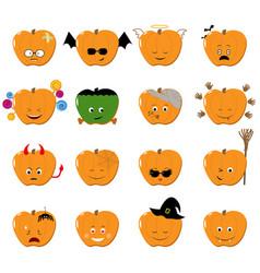 emoticons halloween set cute funny vector image