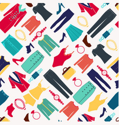 Fashion women seamless pattern with clothes and vector