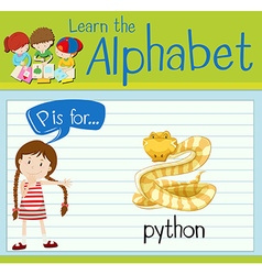 Flashcard letter P is for python vector image