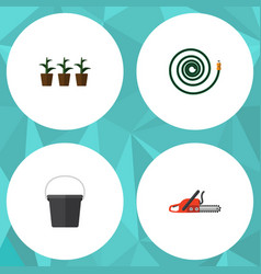 Flat icon garden set of hacksaw pail flowerpot vector