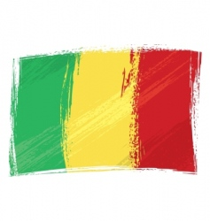 grunge Mali flag vector image vector image