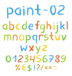 Grunge painted alphabet with numbers and symbols vector image