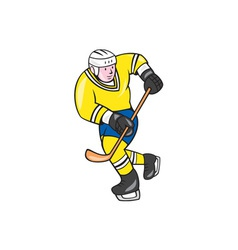 Ice Hockey Player Holding Stick Cartoon vector image vector image