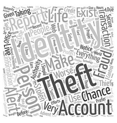 Identity theft reporting word cloud concept vector