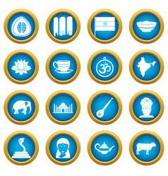 India travel icons blue circle set vector
