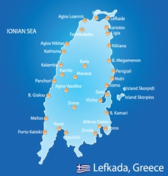 Island of Lefkada in Greece map vector image vector image