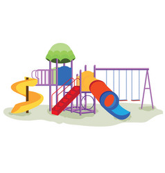 Kids playground equipment with swings vector