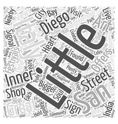 Little italy san diego word cloud concept vector
