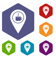 Map pin location with tea or coffee cup sign icons vector