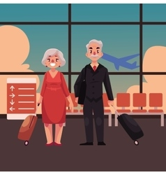 Old couple of man and woman with suitcases in vector