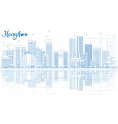 Outline hangzhou skyline with blue buildings and vector